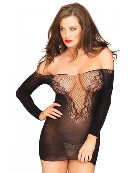Off The Shoulder Minidress Negro Mini vestido