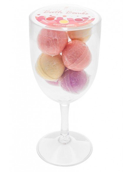 Glass Bath Bombs Copa con bombas de baño