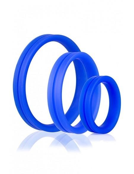 Set de 3 anillas para el pene RingO Pro x3 Azul
